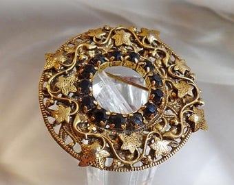 SALE Vintage Art Nouveau Ivy Rhinestone Brooch Pendant. Gold Gilt on Brass Ivy Wreath Pin with Black Rhinestones.