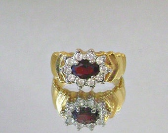 SALE Vintage Garnet Ring and Cubic Zirconia Gold