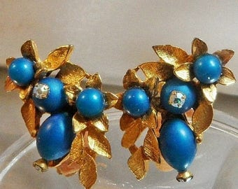 SALE Vintage Teal Blue Rhinestone Earrings. AB Rhinestones. Gold Leaves.
