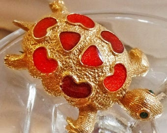 SALE Vintage Florenza Turtle Brooch.  Textured Gold Tone Orange Red Enamel Turtle Pin.  Green Rhinestones Turtle Brooch.