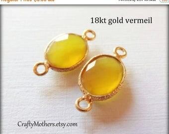 7% off SHOP SALE 2 Yellow GOLD Chalcedony Bezel Set Gold Vermeil Connectors, (1) Matched Pair, 9mm x 18mm long, faceted