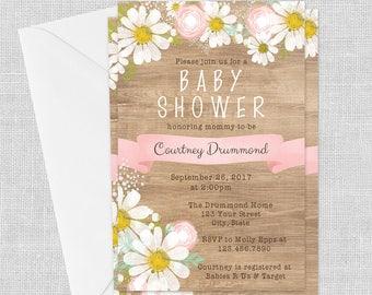 PRINTED Wood Look Daisy Invitation- Pink, 5 x 7, Baby Shower Invitation, Wedding, Birthday, Bridal Shower, Customized w/ Your Wording