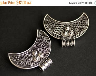 SUMMER SALE Two (2) Viking Brooches. Silver Apron Pins. Crescent Moon Turtle Brooch Set. Shoulder Brooches. Norse Jewelry. Historical Jewelr