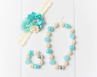 Mint necklace, ivory bubblegum necklace set, little girl necklace chunky bead necklace, bubble gum necklace, toddler necklace, teal bracelet