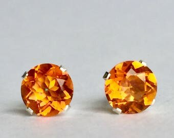 Orange Quartz 6mm 1.45ctw Sterling Silver Gemstone Stud Earrings
