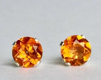 Orange Quartz 6mm 1.45ctw Sterling Silver Gemstone Stud Earrings
