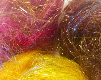 FAIRY FLOSS - Variety Pack of gold, spice, and tiger's eye - sparkle fiber to spin or felt - a fun treat for fiber artists!