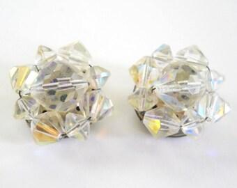 Vintage Crystal Cut Clip On Earrings • Vintage Germany Opalescent Earrings