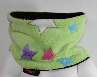 SNOOD FLEECE COLORED STARS 3 CHILD SIZES 2/3 YEARS, 4/6 AND 8/12 YEARS