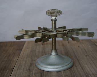 Vintage Achilles Stamp Holder . Holds 8 Stamps . Retro Industrial . Office Desk