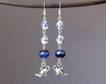 Blue 5 O'clock Tea Dangle Earrings Long English Tea Porcelain Lampwork Glass Bead Teapot Kettle Charm Boho Chic