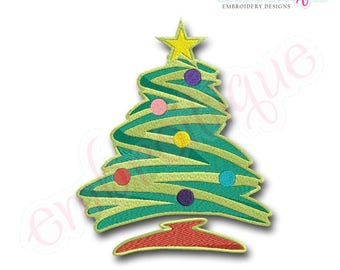 Christmas Tree 3  Filled - Instant Download -Digital Machine Embroidery Design