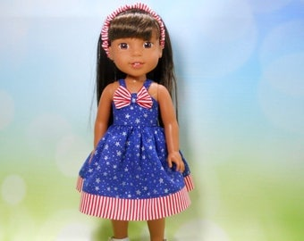 Designed for 14.5 inch dolls such as Wellie Wishers, Red white and blue stars and stripes dress, 05-2093
