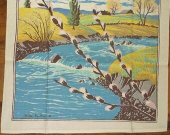 Vintage STEPHEN  HAMILTON Linen Towel • Pasture, Flowers, Water