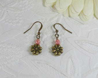 Earrings Bronze Daisy Flowers with Coral Pink Gifts for Her