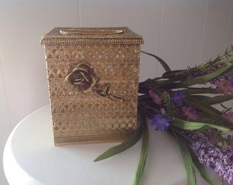 Gold Filigree Tissue Box ~ Tissue Box With Rose ~ Stylebuilt 24 KT Plated ~ Vintage Kleenex Box ~ Gold Ormolu Bathroom  Accessories ~