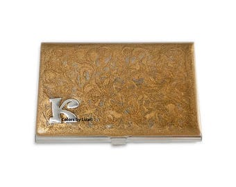 Monogram Metal Card Case Hand Painted Enamel Gold Swirl Design with Insignia Choose your Letter Custom Colors and Personalized Options