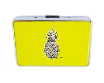Tropical Pineapple RFID Metal Wallet with Credit Card Organizer Hand Painted Summer Yellow Enamel Assorted Colors and Personalized Options
