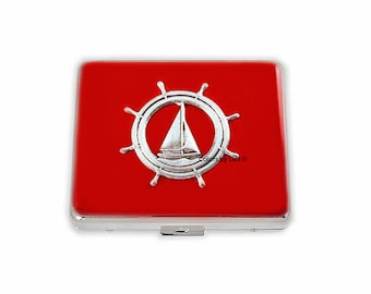 Sail Boat Nautical Ships Wheel Weekly Pill Box Hand Painted Enamel Red Opaque with Personalized and Color Options