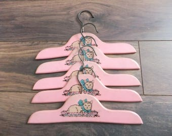 Vintage Children's Hangers Wooden Pink with Kitten in Basket Set of 5 Child Girl Kitty Cat Closet Organization