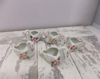 Vintage Salt Dips Ceramic Swan White with Pink Flowers Set of 5 Japan Wedding Tea Cake Topper