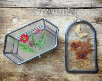 Vintage pressed flower glass trinket box and butterfly window suncatcher boho dorm decor