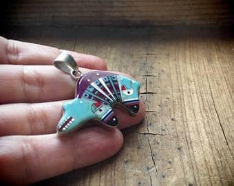 Vintage sterling silver turquoise bear necklace pendant micro inlay grizzly bear jewelry
