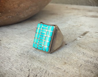 Vintage Size 10.5 Men's Turquoise Ring Checkerboard Channel Inlay, Turquoise Jewelry