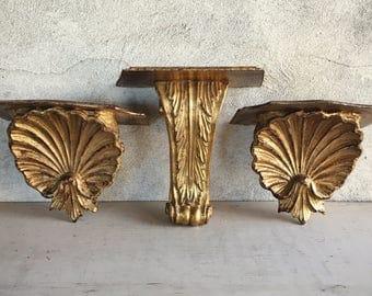 Three Carved Wood Shelf Brackets Vintage Floating Shelves, Architectural Salvage Wooden Corbel