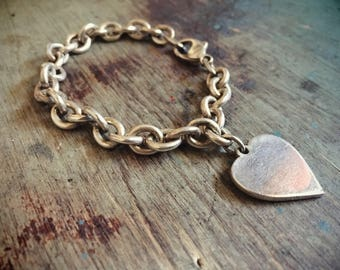 """7"""" Sterling Silver Link Chain Bracelet Silver Heart Charm, Chunky Bracelet Thick Chain"""