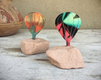 Metal Art Hot Air Balloon Paperweight, Psychedelic Art, Balloonist Gifts, Southwestern Gifts