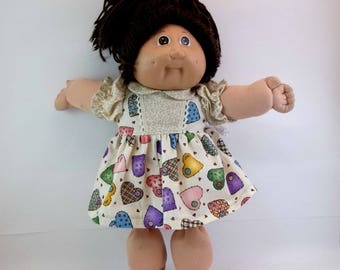 "Cabbage Patch Doll  Dress and Panties Light Beige With Hearts 16 "" Doll Outfit Toys"