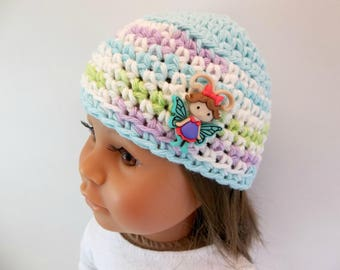 18 inch Doll  Crochet Hat Aqua & White Flutterbug Accessories Toys