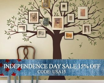 Independence Day Sale - Wall Decal Family Tree Wall Decal Sticker Family Photo Tree - Two colors - Vinyl Wall Sticker Photo Tree Decal Tree