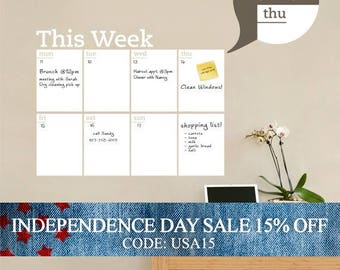 Independence Day Sale - Weekly Planner Dry Erase Calendar - Modern Vinyl Wall Decal