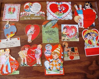 14 Valentine Card Lot from 1920's & 1930's  Collectible Valentine Lot School Valentine Lot