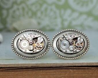 THE TIME KEEPER steampunk vintage Hamilton 22 jeweled watch cufflinks