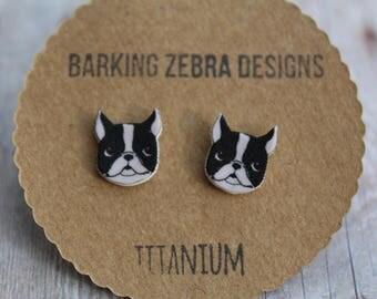 Boston Terrier Stud Earrings | Dog Studs | Dog Jewelry | Dog Stud Earrings | Titanium Stud Earrings | Hypoallergenic