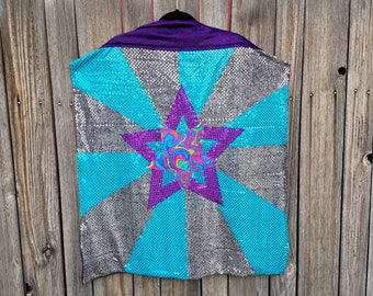 Star Mandala Mid Length Cape with Silver and Turquoise Blue Sequin Stripes with Purple Faux Velvet Lining