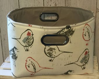 Closet Organizer Bin, Shelf Storage Bins, Fabric Storage Bins, Closet system, choose your size in Birds fabric