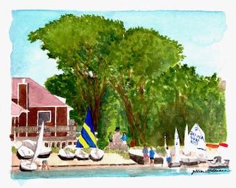 Marine Walk Watercolor Painting Original Art Framed