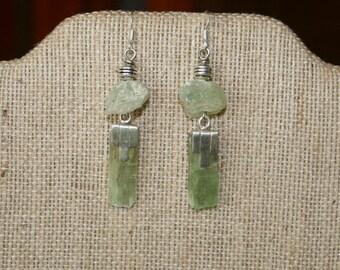 Art Deco Meets Rustic Green Kaynite & Phrenite Chunks Earrings plus Free USA Shipping!