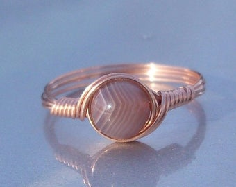 25% Off Sale Red Botswana Agate 14k Rose Gold Filled Wire Wrapped Ring Custom Sized