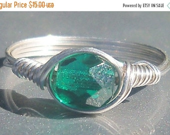25% Off Sale Teal Sterling Silver Ring- Teal Czech Glass Argentium Sterling Silver Wire Wrapped Ring