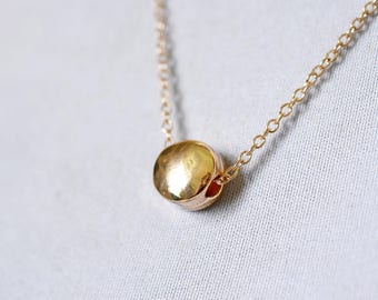 Tiny Gold Circle Necklace, Small Golden Charm, Whimsical Boho Jewelry