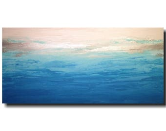 Abstract painting, large acrylic wall art, living room room decor, dining room wall art , blue, JMJArtstudio, gift for her, gift for him