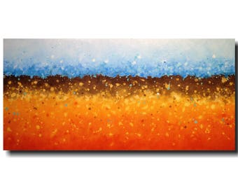 Large Original painting - 24 X 48 -  JMJartstudio- Into Your own -Wall art-wall decor - Blue  painting-Oil painting