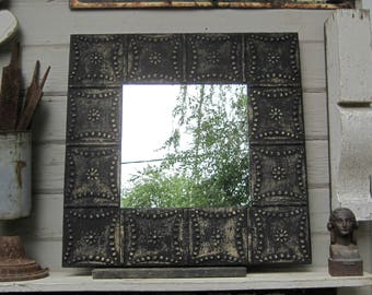 Tin Ceiling Tile Mirror. 2u0027x2u0027 Antique Architectural Salvage. Black Wall  Mirror
