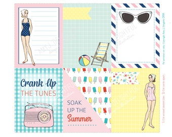 RETRO BEACH Journal cards/inserts-Digital File Instant Download-Planner Inserts, travelers journal, Project Life, retro girl, summer