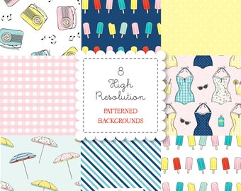 Retro Beach Themed Patterned Backgrounds set-instant download-for personal use -digital papers, swimsuits, popsicles, bando, happy planner